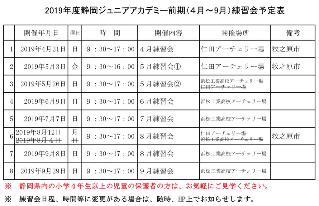 2019静岡ジュニアアカデミー前期練習会2