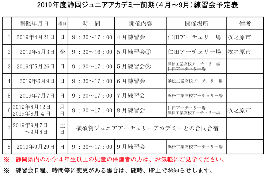 2019静岡ジュニアアカデミー練習会前期日程(HP用)0827現在