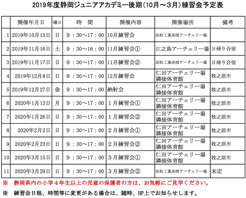 2019静岡ジュニアアカデミー練習会後期日程